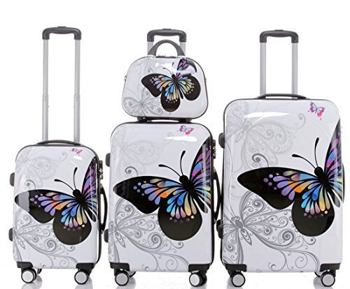 Butterfly - Trolley Koffer, Set 4-teilig, Hartschale, 3 Trolleys + Beauty-Case, 4 Rollen, XL-Light,