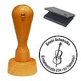 Stempel mit Kissen « CELLO » Durchmesser ca. Ø 40 mm - mit persönlicher Adresse und Motiv - Adressenstempel Firmenstempel Motivstempel - Violoncello