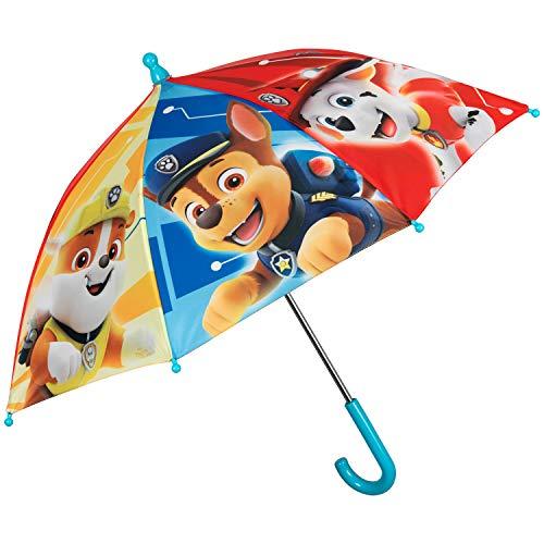 Paw Patrol Regenschirm Kinder - Kinderschirm Helfer 4 Pfoten Marshall Chase Rubble - Junge Kinderregenschirm Blau Rot Gelb - Schirm Farbig Robust - Durchmesser 66 cm - Kleinkind 3/5 Jahren - Perletti