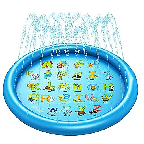 Almohadilla de Rociadores para Niños, Splash Pad Alfombra de Aspersor Verano Colchoneta de Agua para Niños Familiares Aire Libre Fiesta Playa Jardín (170 cm) (Letras Redondeadas)