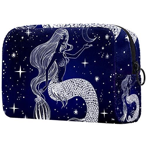 Bolsa de maquillaje para mujer, bolsa organizadora de cosméticos, bolsa de aseo con cremallera de 19 x 7 x 12 cm, sirena y calaveras