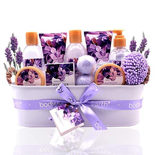 Geschenkset für Frauen- Body&Earth 12Pcs Badeset mit Lavendel Duft, Enthält Duschgel, Schaumbad, Body Lotion, Handseife, Körperbutter, Badesalz, Frauen Geschenke