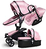 Hot Mom 3 en 1 Landau Pliable Anti Shock Two Way -gz Paysage Hot Mom Quatre Round Baby Poussette Multi Cot Fonctions Combiné,Pink