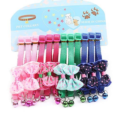 Flyup Katzenhalsband, Sicherheitsschnalle, Katzenhalsband mit Glöckchen, 12 Stück