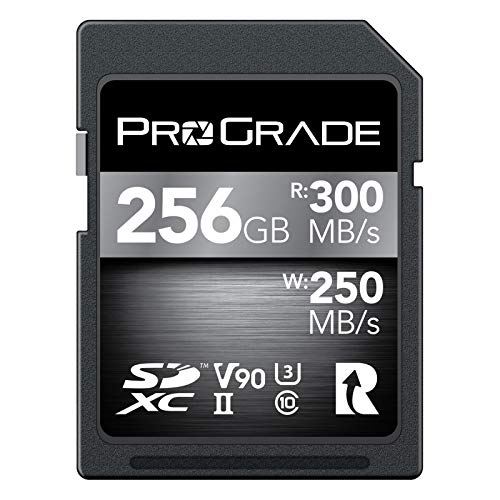 SD UHS-II 256GB Card V90 –Up to 250MB/s Write Speed and 300 MB/s Read Speed | for Professional Vloggers, Filmmakers, Photographers & Content Curators – by Prograde Digital