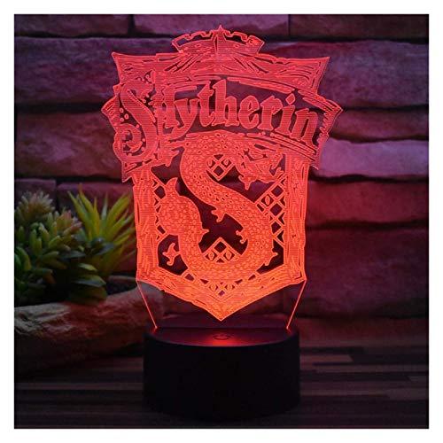 Novelty lamp, Neue 3D Illusion Nachtlicht Harry Potter Slytherin USB Stecker Fernbedienung & Touch 7 Farbwechsel Acryl LED Tischlampe Dekoration Kreative Modell Spielzeug Kinder Geschenke