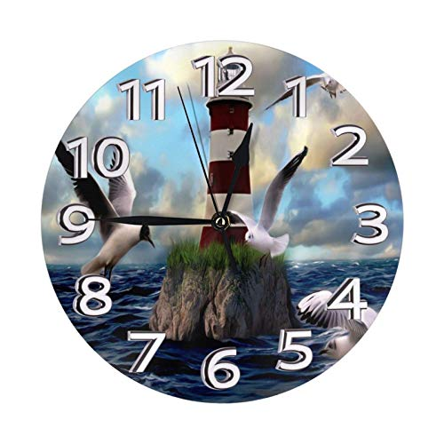GOSMAO Round Wall Clock,Lighthouse Seagulls On The Beach Hill,Desk Clock Home Decor for Kitchen Living Room Bedroom Office