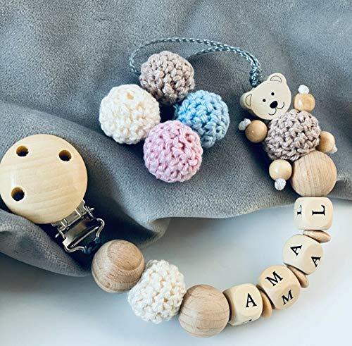 Schnullerkette mit Namen Mädchen Junge Teddy& Häkel Große Natur Holz Kugel personalisierte Baby Geschenk