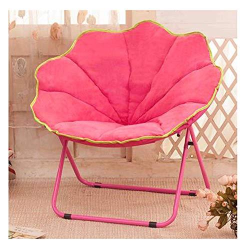 LSF Mobiler Mondstuhl Fauler Klappstuhl Tragbare Falten Saucer Padded Moon Chair Comfort Wohnzimmer Schlafzimmer Gartenmöbel Camping (Color : Pink)