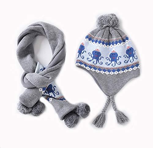 AOCT SHOP-hat Winter Schal Ohrenschützer Warm halten Stricken 2 Stück Outdoor-Sport Skimütze Schal Anzug Männer und Frauen Kinder