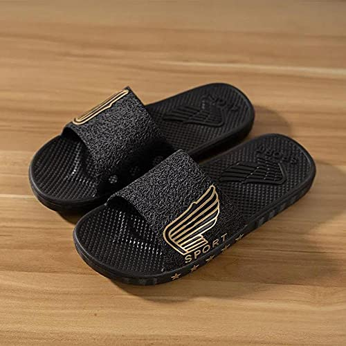 ZZLHHD Chanclas de Masaje,Thick Bottom Comfortable Slippers Men, Bathing-Black B_45,Sandalias De Reflexología Terapéutica