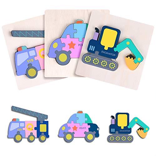 GrandEver 3 Stücke Holzpuzzle Bausteine Steckpuzzle Tier Holzpuzzle,Lernspielzeug Bagger Polizeiauto Feuerwehrauto Blockspielzeug Montessori Vorschulspielzeug für 2-6 Jahre Jungen Mädchen