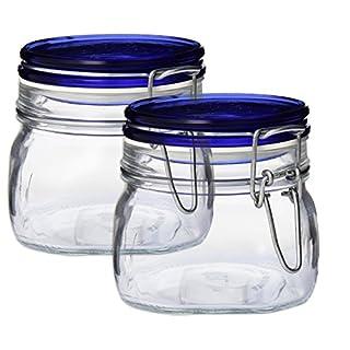 Bormioli Rocco Fido Square Jar's With Blue Lid, 67-3/4-ounce (set of 2) (B013RI8FQC) | Amazon price tracker / tracking, Amazon price history charts, Amazon price watches, Amazon price drop alerts