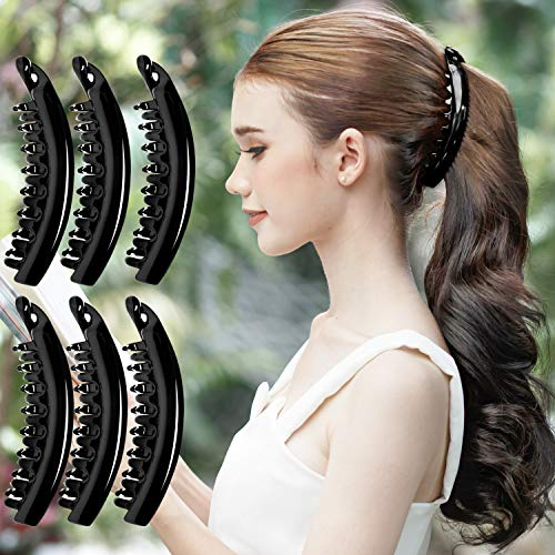 RC ROCHE ORNAMENT 6 Pcs Womens Premium Hair Plastic Banana Classic Clincher Strong Hold Ponytail Maker Styling Girls Ladies Beauty Accessory Clasp Clip, Large Black
