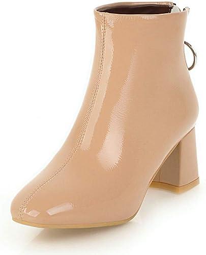 HOESCZS Nouveau Plus La Taille 34-43 Sabot Talons Hauts Fashion Zip Up Party Bottines Bottes Femmes Chaussures Femme Ajouter Bottes De Fourrure d'hiver Femelle