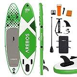 Arebos SUP Board | Stand up Paddling | tavola da surf | 320 x 76 x 15 cm | gonfiabile | doppio strato | pagaia in alluminio | pompa ad alta pressione | Zaino per il trasporto | Portata 135 kg | Verde