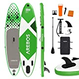 Arebos SUP Board | Stand up Paddling | Surfboard | 320 cm | aufblasbar | Double-Layer | Alu-Paddel | Hochdruck-Pumpe | Transportrucksack | 135kg Tragkraft | Grün