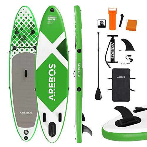 Arebos SUP Board   Stand up Paddling   tavola da surf   320 x 76 x 15 cm   gonfiabile   doppio strato   pagaia in alluminio   pompa ad alta pressione   Zaino per il trasporto   Portata 135 kg   Verde