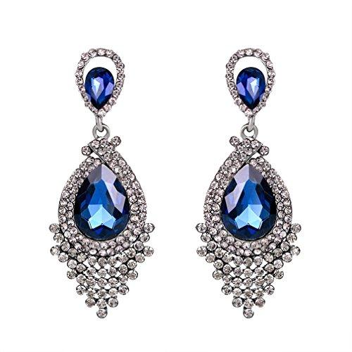 YAZILIND blaue Tropfen Ohrringe Strass Kristall glänzend luxuriös übertrieben Ohrstecker