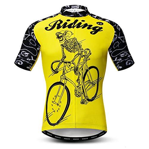 Herren Radtrikot Kurzarm Outdoor Pro Biken Riding Bekleidung Mountainbike Trikots Atmungsaktiv Totenkopf T-Shirt Tops - - Small (Brust 89/ 97 cm)