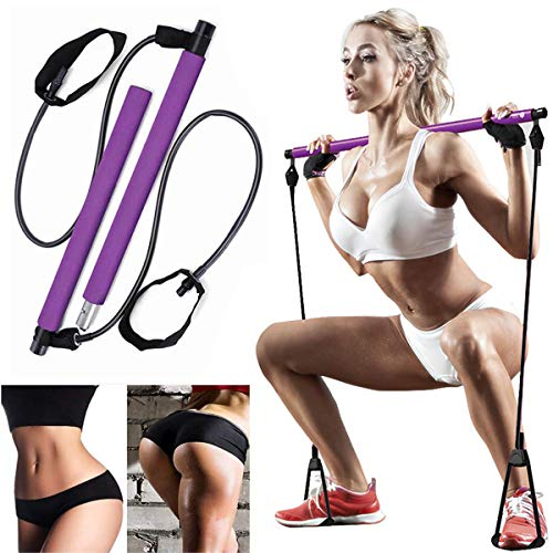 AOAUUKO Pilates Bar Kit with Resistance Band, Portable Pilates Exercise Stick Yoga Exercise Bar with Foot Loop Body Workout Toning Bar for Yoga,Stretch,Twisting,Body Shaping - Purple