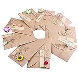 ZeWoo Set von 9 Grußkarte, Retro Kraftpapier-Leere Umschläge Ewiges Leben Getrocknete Blumen...