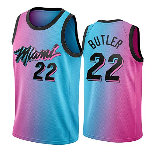 Dybory Jimmy Butler # 22 Jersey para Hombre, Miami Heat 21 Season New Edition Basketball Gradient Color Jerseys Camiseta Unisex Swingman Top,L