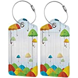 Waterproof luggage tag Apartment Decor Umbrellas in Sky Climate Meteorology Storm Pouring Fall Rains Freedom Theme Soft to the touch Multi W2.7' x L4.6'