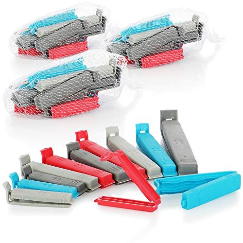 com-four® 48x Verschlussclips aus Kunststoff - Verschlussklammern in verschiedenen Größen und Farben - Gefrierbeutel-Clip für Cornflakes, Nüsse oder Kaffee (48 Stück - blau/rot/grau)