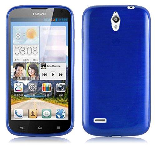Cadorabo Hülle für Huawei Ascend G610 - Hülle in BLAU – Handyhülle aus TPU Silikon in gebürsteter Edelstahloptik (Brushed) Silikonhülle Schutzhülle Soft Back Cover Hülle Bumper