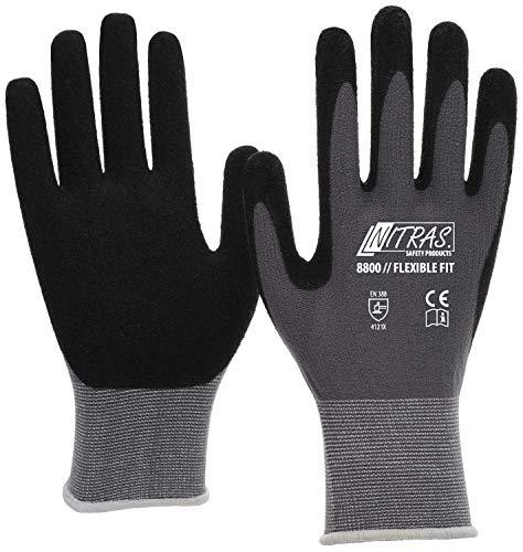Nitras 3 Paar 8800 Flexible Fit Arbeitshandschuhe - Schutz-Handschuhe für die Arbeit - EN 388 - Grau/Schwarz - 10/XL