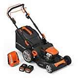 """Yard Force Lithium-Ion 22"""" Self-Propelled 3-in-1 Mower with Torque-Sense Control - 2 Batteries & Fast Charger included"""