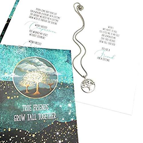 Smiling Wisdom - Tree of Life True Best Friend Gift Set - Reason Season Lifetime Friendship Greeting Card + Necklace Jewelry - Her Woman Bestie BFF – Stainless Steel