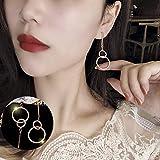 Personalidad de la moda Wild Sweet Girl Ear Jewelry Nuevos pendientes de red rojos de moda Japón y Corea del Sur Pendientes de temperamento simple Oro rosa (preservación del color)