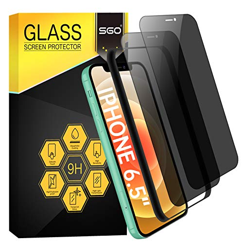 SGO Privacy Screen Protector for iPhone Xs Max iPhone 11 Pro Max [2 Pack] [Full Coverage] 6.5 Inch 9H Hardness Film Dust-Proof Edge to Edge Tempered Glass Anti Spy