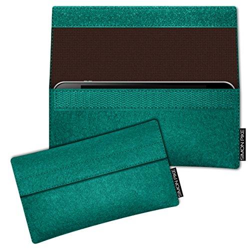 SIMON PIKE Hülle Tasche kompatibel mit Samsung Galaxy S8 Active | Filztasche Newyork in 2 smaragd aus Filz (echtem Wollfilz) Handyhülle