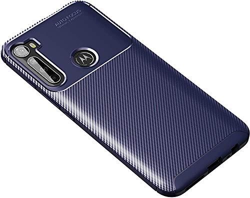 """Capa Capinha Anti Impacto Para Motorola Moto One Fusion Plus, Fusion+, com Tela de 6.5"""" polegadas - Case Com Desenho Fibra De Carbono Shock Queda - Danet (Azul)"""