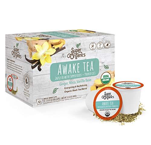 Super Organics Awake Black Tea Pods With Superfoods & Probiotics   Keurig K-Cup Compatible   Energy, Revitalizing, Refreshing Tea   USDA Certified Organic, Vegan, Non-GMO, Natural & Delicious, 12ct