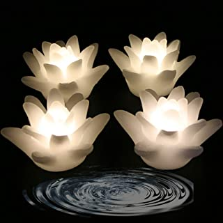 LACGO 3'' Wedding Novelty Candles Real Wax Flameless Floating Flicker LED Candle, LED Water Activated Flower Shaped Candle, for Home, Party and Festival Decoration(Lily, Warm White, Pack of 4)