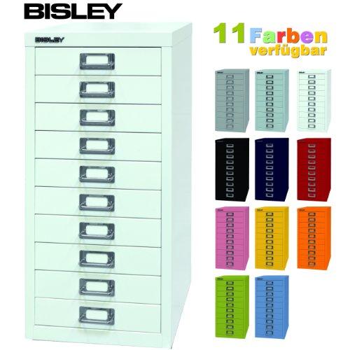 BISLEY ladekast 29 van metaal met 10 laden, kast voor kantoor, werkplaats en thuis, stalen kast in 11 kleuren Verkeerswit.