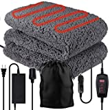 """Zone Tech Sherpa Fleece Travel Blanket – Premium Quality 12V Grey Cozy Soft Plush Warm Fuzzy Automotive Comfortable Car Seat 59' x 43"""" Blanket -Great for Winter, Home, Office and Camping"""
