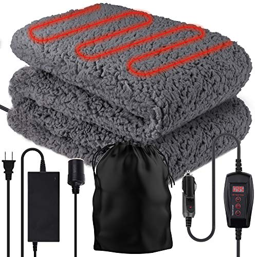 "Zone Tech Sherpa Fleece Travel Blanket – Premium Quality 12V Grey Cozy Soft Plush Warm Fuzzy Automotive Comfortable Car Seat 59' x 43"" Blanket -Great for Winter, Home, Office and Camping"