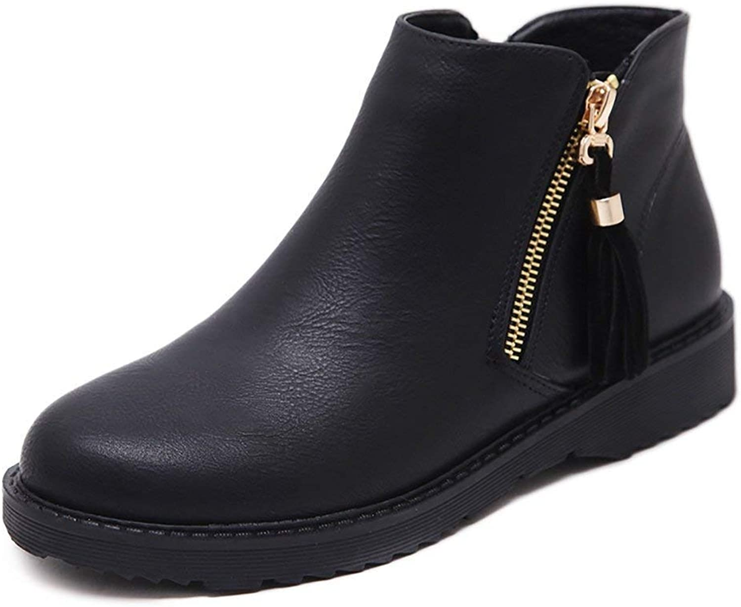 A-LING Womens Boots Leather Suede Low Heel Zipper Ankle Bootie
