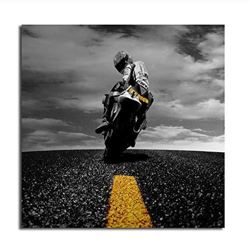 Suuyar Valentino Rossi Tapete Leinwand Poster Drucke Wandkunst Gemälde Dekoratives Bild Motivationsraum Garage Wohnkultur-70x70cm Kein Rahmen
