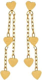So Chic Joyas - Pendientes Colgantes 2 Cadenas 4 Corazones Oro Amarillo 375/000 (9 kilates)