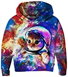 Girls Boys Cat Hoodies Comfy Running Sweatshirt Cool 3D Aerospace Cat Pullover Daily Winter Wear Outfits Cute Cat 3D Printing Jackets Red Nebula Print Tracksuit Top with Thin Lining 8-10 Years