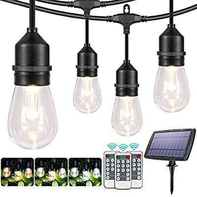 2 Pack Each 48FT 3-Color in 1 Solar Outdoor String Lights,Dimmable Solar Patio Lights with Remote,30+5 Waterproof Shatterproof Edison Bulbs,Outdoor/Indoor LED Solar String Lights for Café Bistro Patio