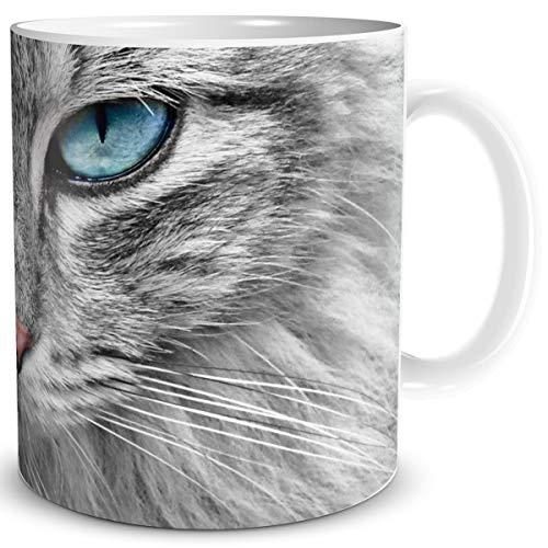 TRIOSK Tasse Katze lustig mit Katzengesicht Blaue Augen Katzenmotiv Geschenk für Katzenliebhaber Frauen Freundin Mädchen