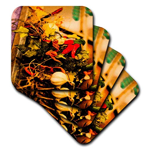 3dRose cst_52082_2 A Ceramic of Hot Chili Peppers and Onions with Leaves in a Mexican Restaurant Hanging on The Wall-Soft Coasters, Set of 8