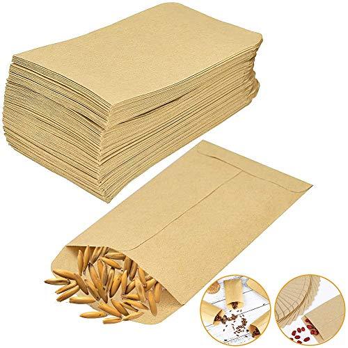 JPYH 100 Mini Sacchetti di Carta Kraft, Buste di Carta Kraft Vintage, Sacchetti Regalo, Caramelle da Imballaggio, Dessert, Regali di Nozze, Gioielli, Semi, Pillole (12 × 18 cm)